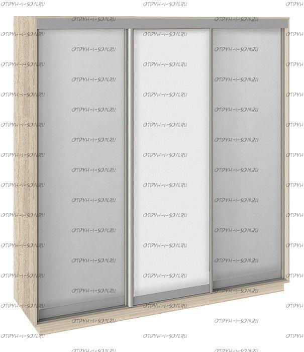 Шкаф-купе 3-х дверный Румер СШК 1.210.70-13.11.13 (2100x600x2200) Дуб Сонома, Зеркало/ Белый снег/Зеркало