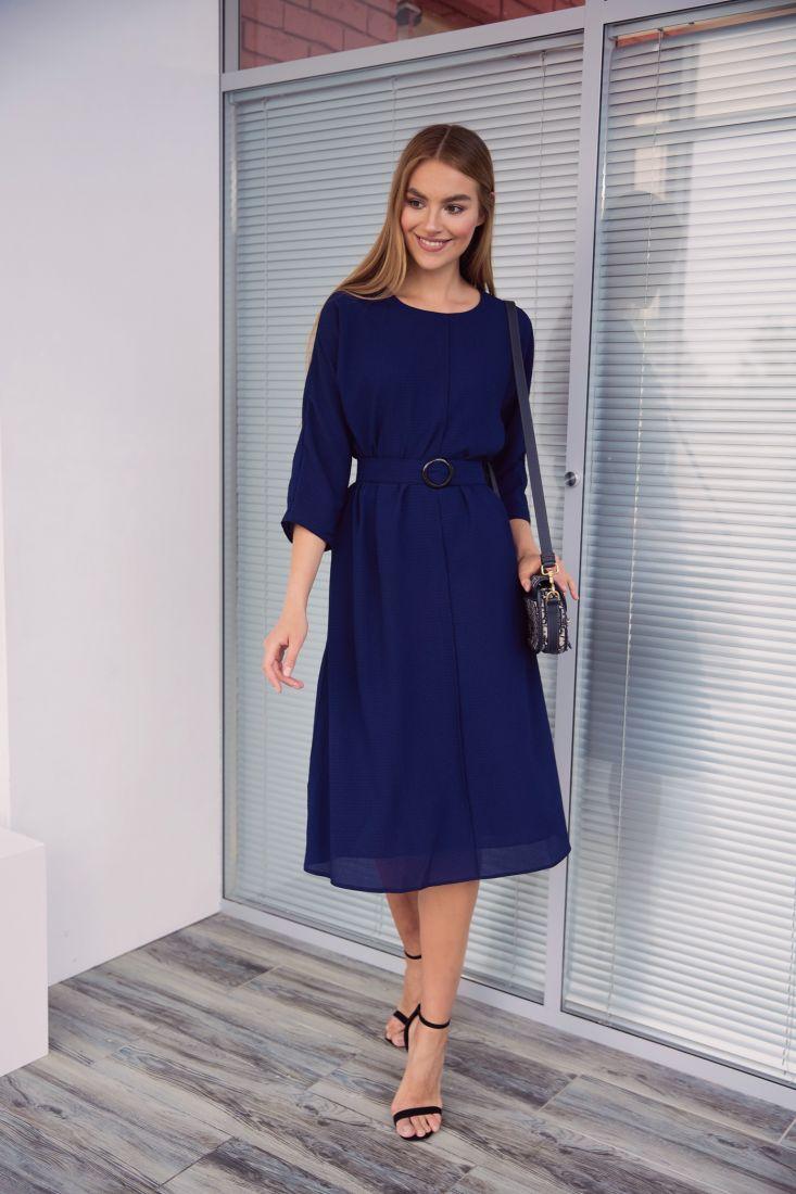 4019 Платье из жатого шифона тёмно-синее на подкладе