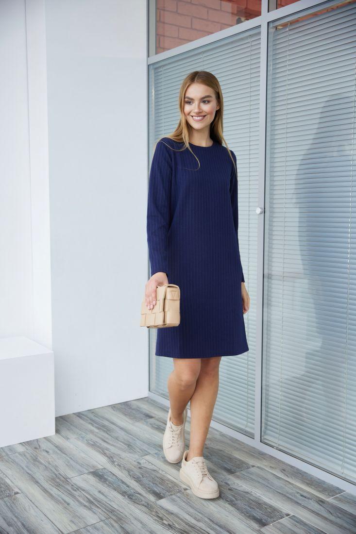3481 Лаконичное тёмно-синее платье-свитер