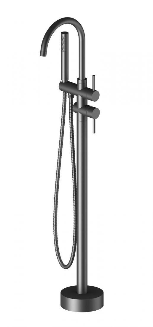 Смеситель напольный для ванны с душем Timo Saona черный (2300/03Y-CR)