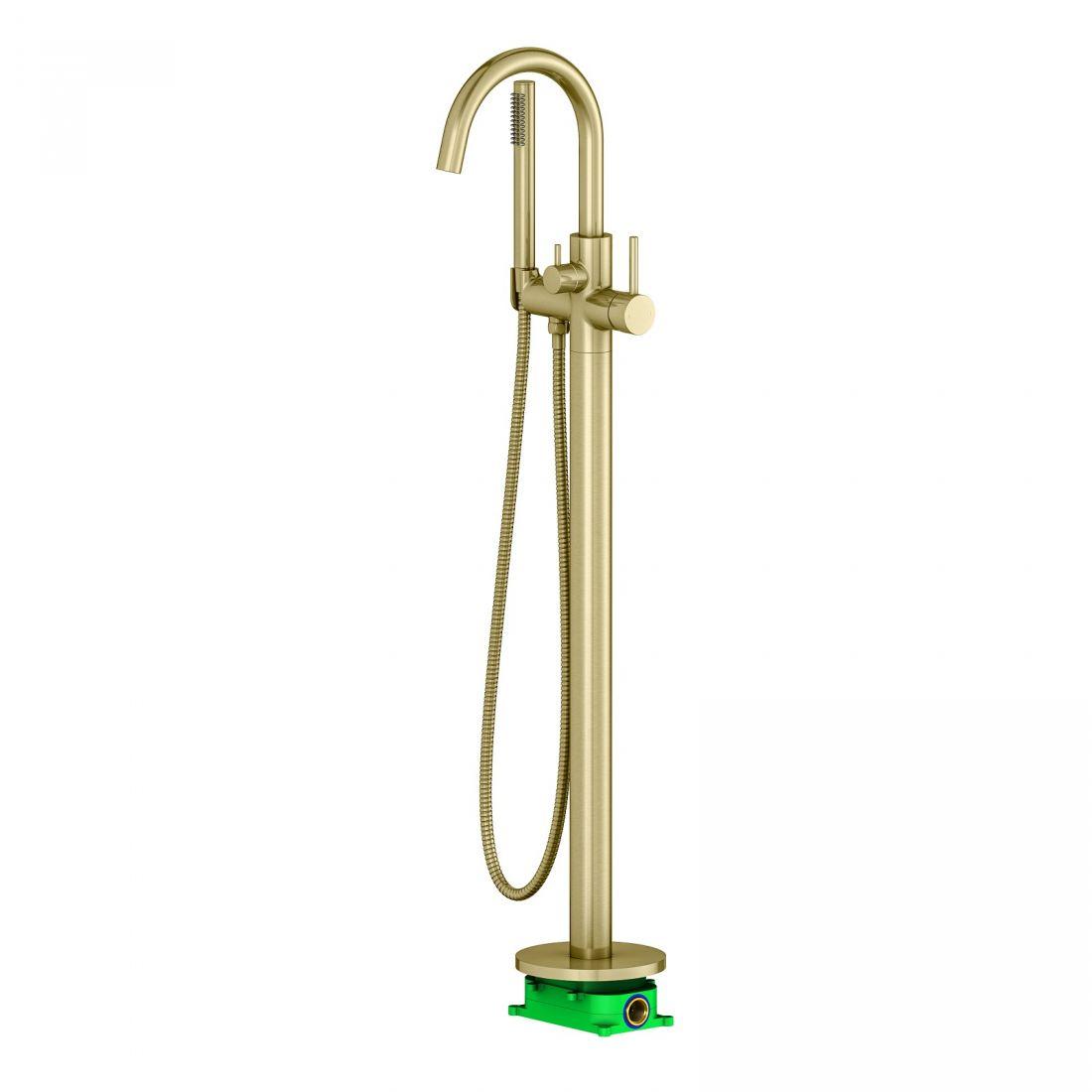 Смеситель напольный для ванны с душем Timo Saona (2310/17Y-CR) золото матовое