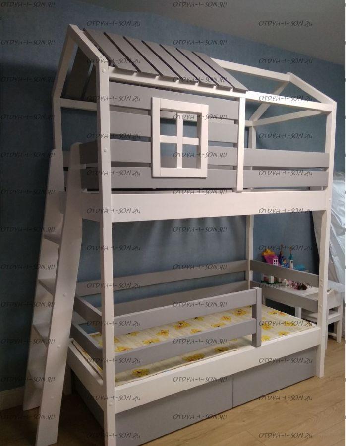 Кровать-домик двухъярусная Standard №19А, любые размеры