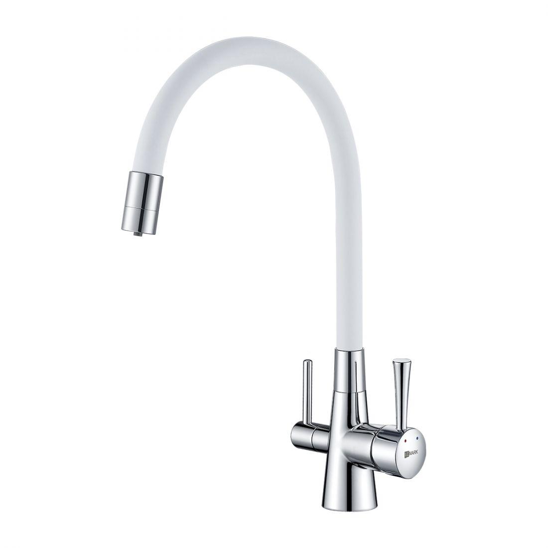 Смеситель Lemark Comfort (LM3075C-White) для кухни  с подключением к фильтру с питьевой водой