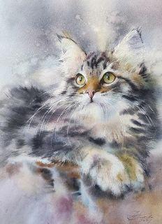 Почтовая открытка Акварельные котики 3