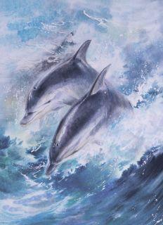 Почтовая открытка Дельфины