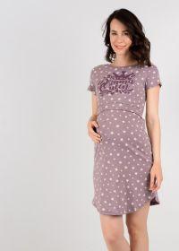 """Ночная сорочка """"Мелана"""" для беременных и кормящих; кофейные звезды"""