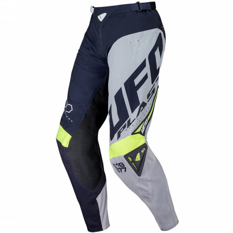 UFO Slim Frequency Pants Blue/Gray/Neon Yellow штаны для мотокросса и эндуро, серо-синие