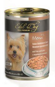 Edel Dog Нежные кусочки Влажный корм для собак, с индейкой и печенью, 400г