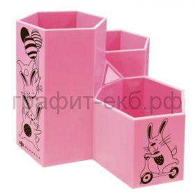 Подставка настольная Феникс+ Зайки розовая 3 отделения 11х11,5х12см 56565