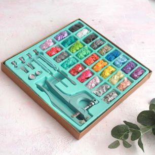 Щипцы / установщик  для пластиковых кнопок в наборе с кнопками и люверсами, мятный