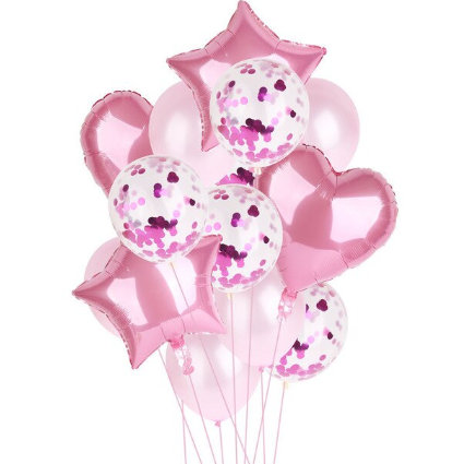 Цветные  гелиевые шары фонтан розовый и фуксия