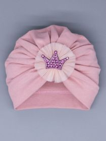 00-0027012  Чалма трикотажная для девочки, бант из фатина, корона, пудровый