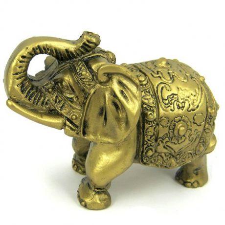 Слон под бронзу, фигурка 9х6см, полистоун
