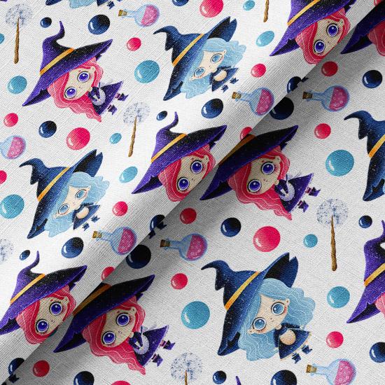 Хлопок Перкаль Ведьмочки голубые и розовые 50х37