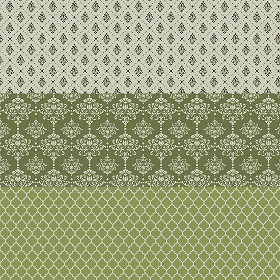 Хлопок Перкаль - Бордюр Винтаж зеленый 25х75 см.