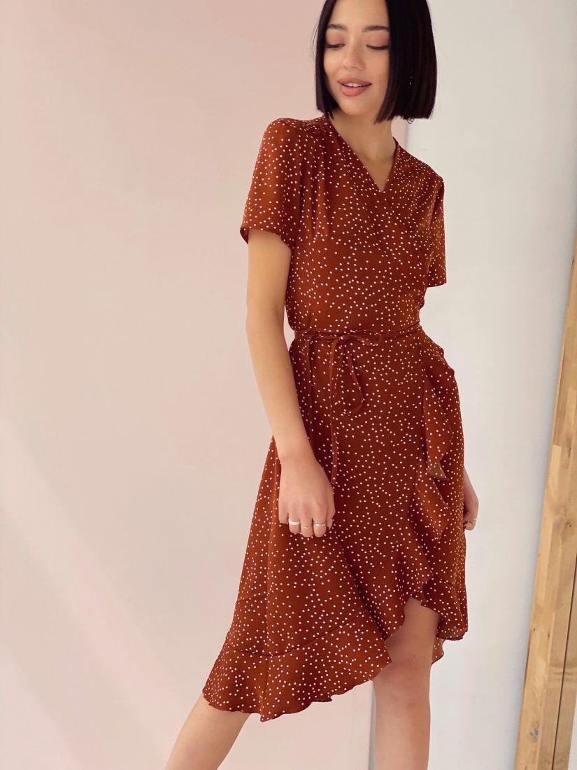 4412 Платье с запахом кофейное в горошек