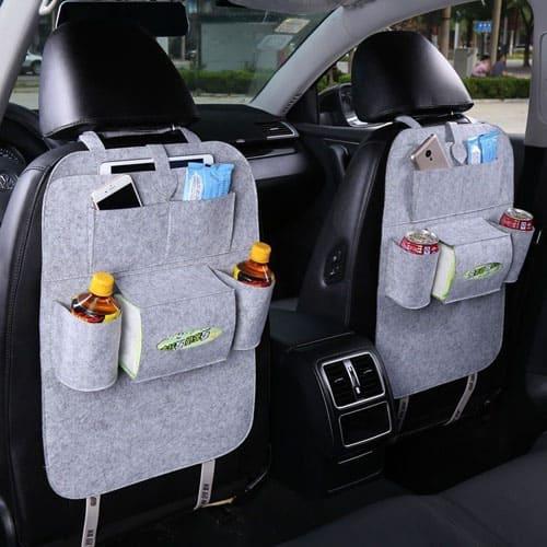 Органайзер для спинки сиденья авто Vehicle mounted storage bag, светло-серый.