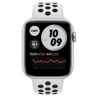 Умные часы Apple Watch Series 6 GPS 44мм Aluminum Case with Nike Sport Band, серебристый/чистая платина/черный