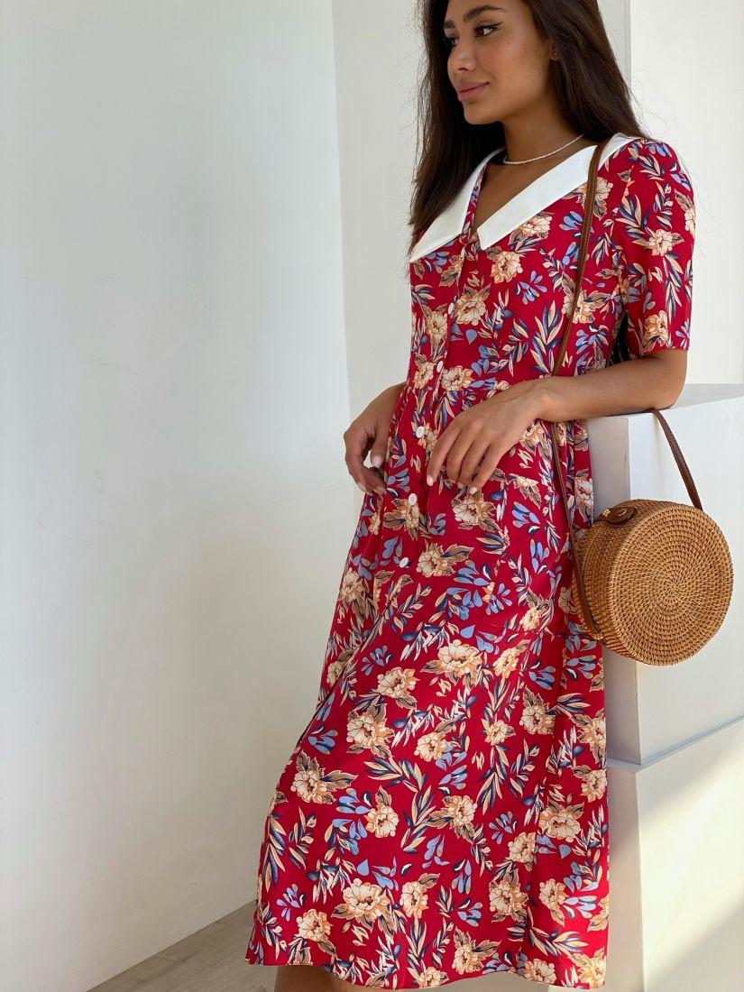 4422 Платье в ретро-стиле красное с контрастным воротником