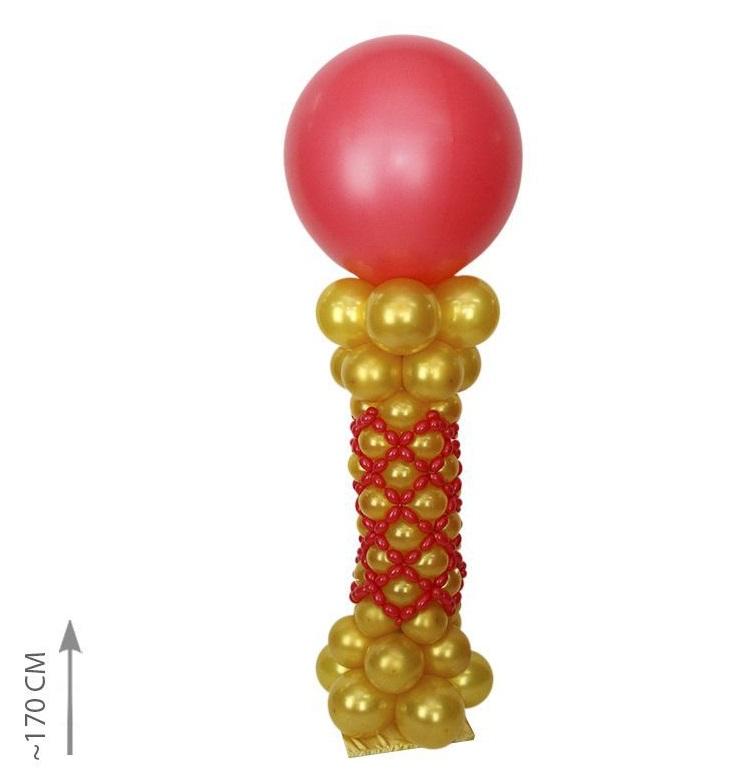 Стойка из шаров золото и красный