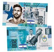 500 pesos (песо) — Сборная Аргентина победитель Кубка Америки 2021. Аргентина. (Copa America2021). Памятная банкнота. UNC
