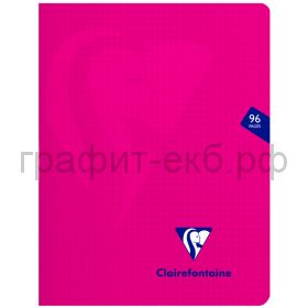Тетрадь 170х220 48л.кл.Clairefontaine Mimesys пластик розовая 90г/м2 303742C_pink