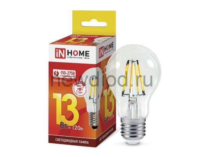 Лампа светодиодная LED-A60-deco 13Вт 230В Е27 3000К 1170Лм прозрачная IN HOME