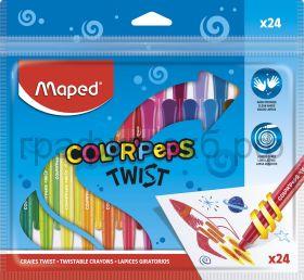 Мелки восковые 24цв.Maped Colorpeps TWIST выкручивающиеся 860624