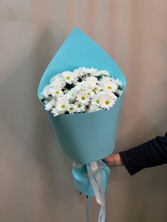 9 белых ромашковых хризантем в красивой упаковке