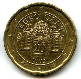 Австрия 20 евроцентов 2002
