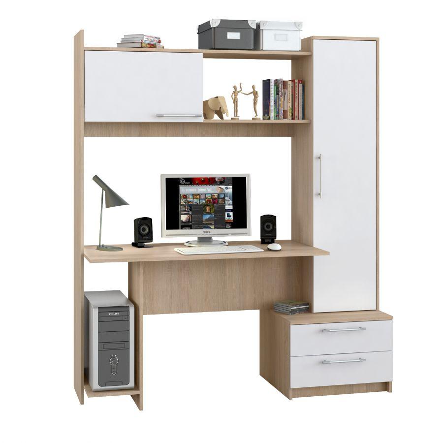 Компьютерный стол Мебель-Комплекс Денвер исп.12 Дуб Сонома/Белый (3 пак)