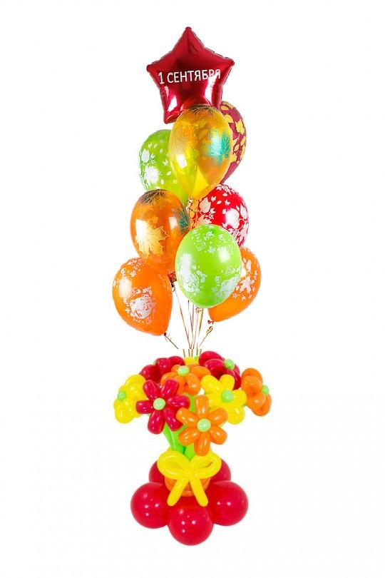 Фонтан из воздушных шаров на 1 сентября с букетом