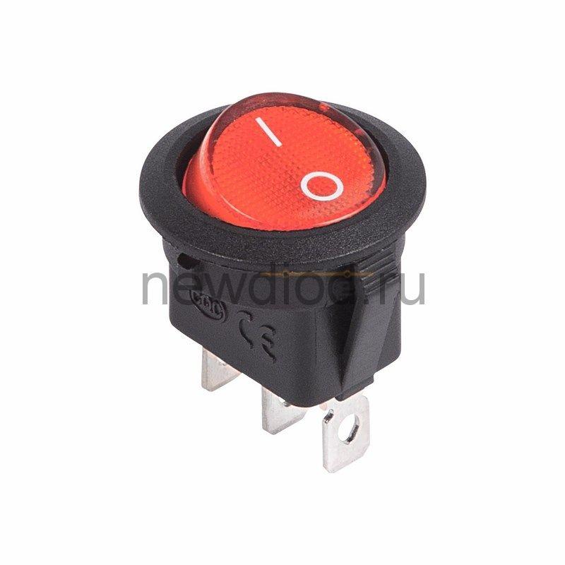 Выключатель клавишный круглый 12V 20А (3с) ON-OFF красный  с подсветкой  (RWB-214)  REXANT