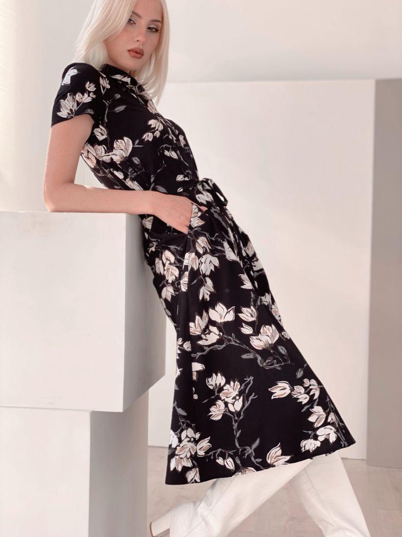"""4472 Платье-рубашка в длине """"миди"""" чёрное"""
