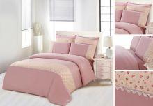 Комплект постельного белья  Сатин  с цветным кружевом  1.5-спальный  Арт.SZV-007-1