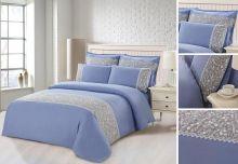 Комплект постельного белья  Сатин  с цветным кружевом  1.5-спальный  Арт.SZV-012-1
