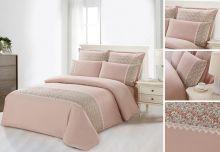 Комплект постельного белья  Сатин  с цветным кружевом  евро  Арт.SZV-004-3