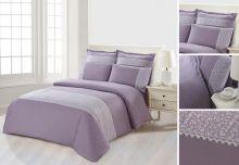 Комплект постельного белья  Сатин  с цветным кружевом  семейный  Арт.SZV-010-4