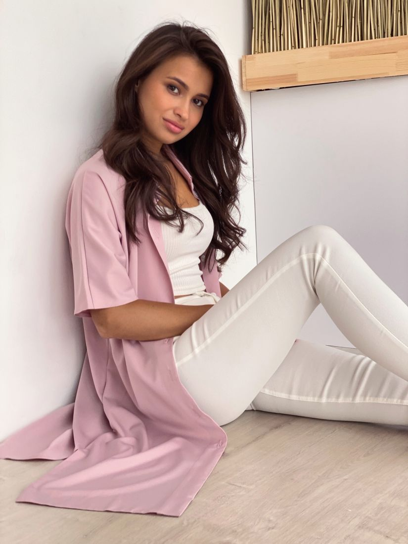 4021 Платье-рубашка пудровое