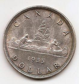 25 лет правлению Короля Георга V 1 доллар Канада 1935 серебро