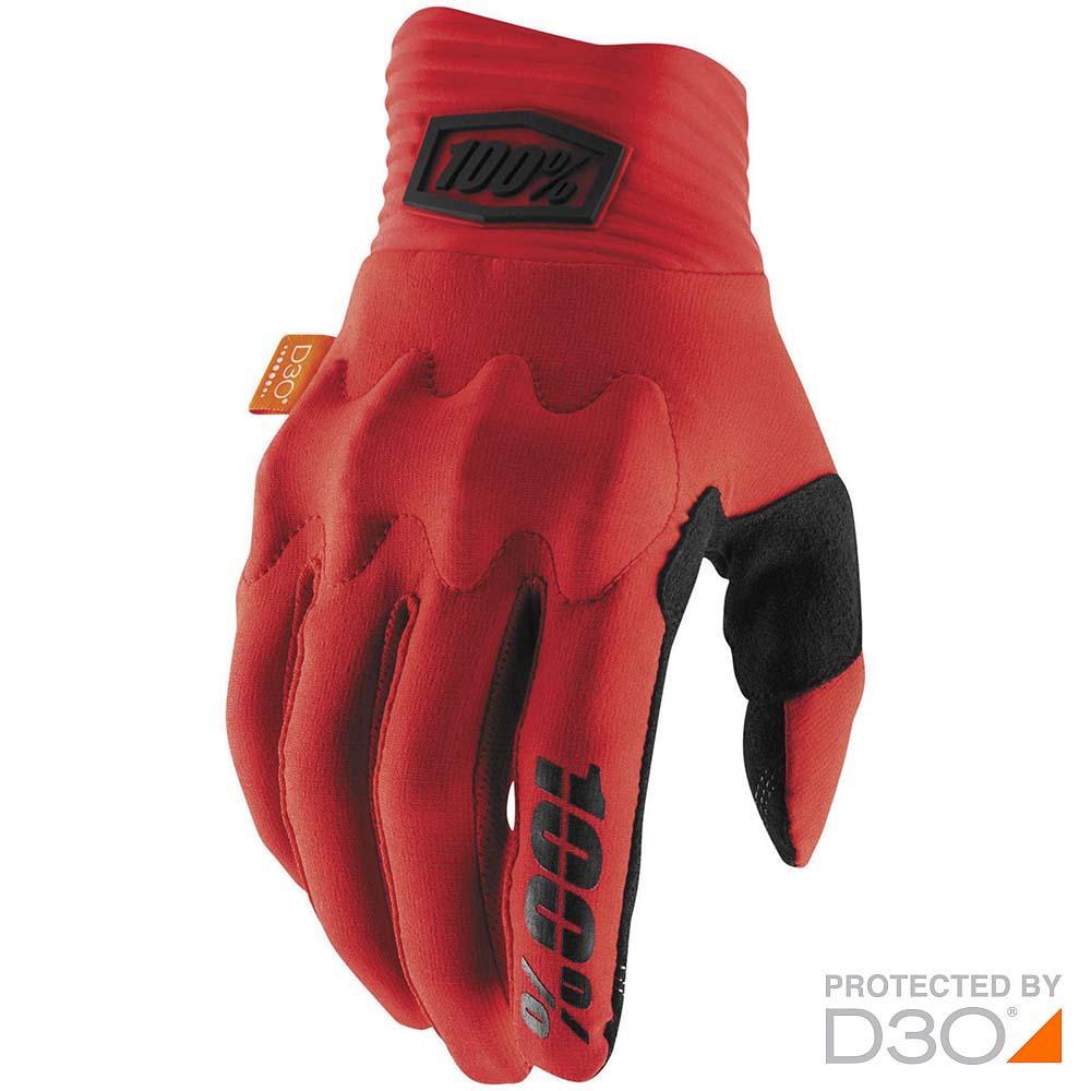 100% Cognito D3O Red/Black перчатки для эндуро