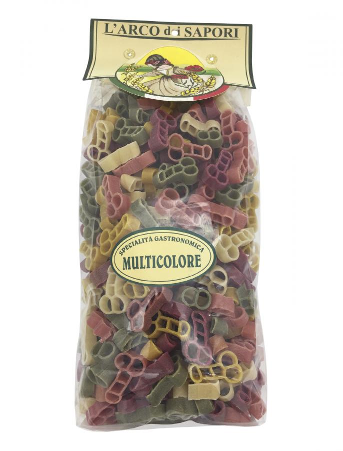 Паста анатомическая 5 вкусов 500 г, Minchiette Multicolori Pastificio Curti 500 gr