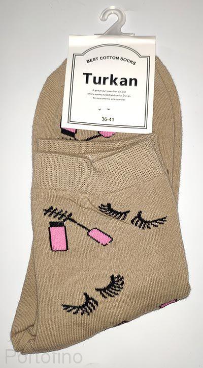 Носки женские цветные коричневый (хлопок)