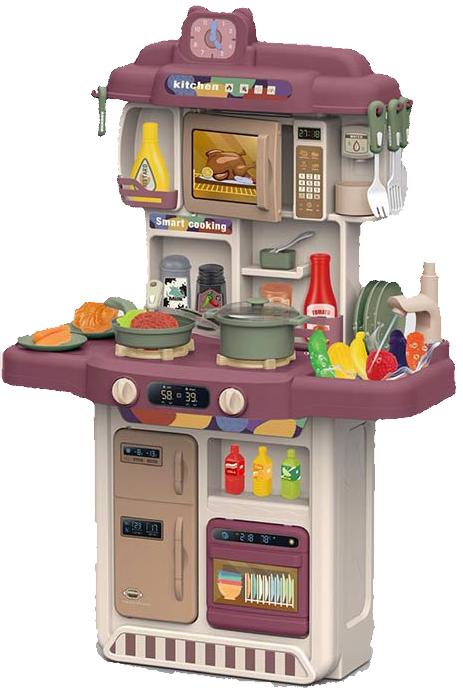 383-052A Детская кухня с холодильником, микроволновкой и посудомойкой. Настоящие вода и пар.