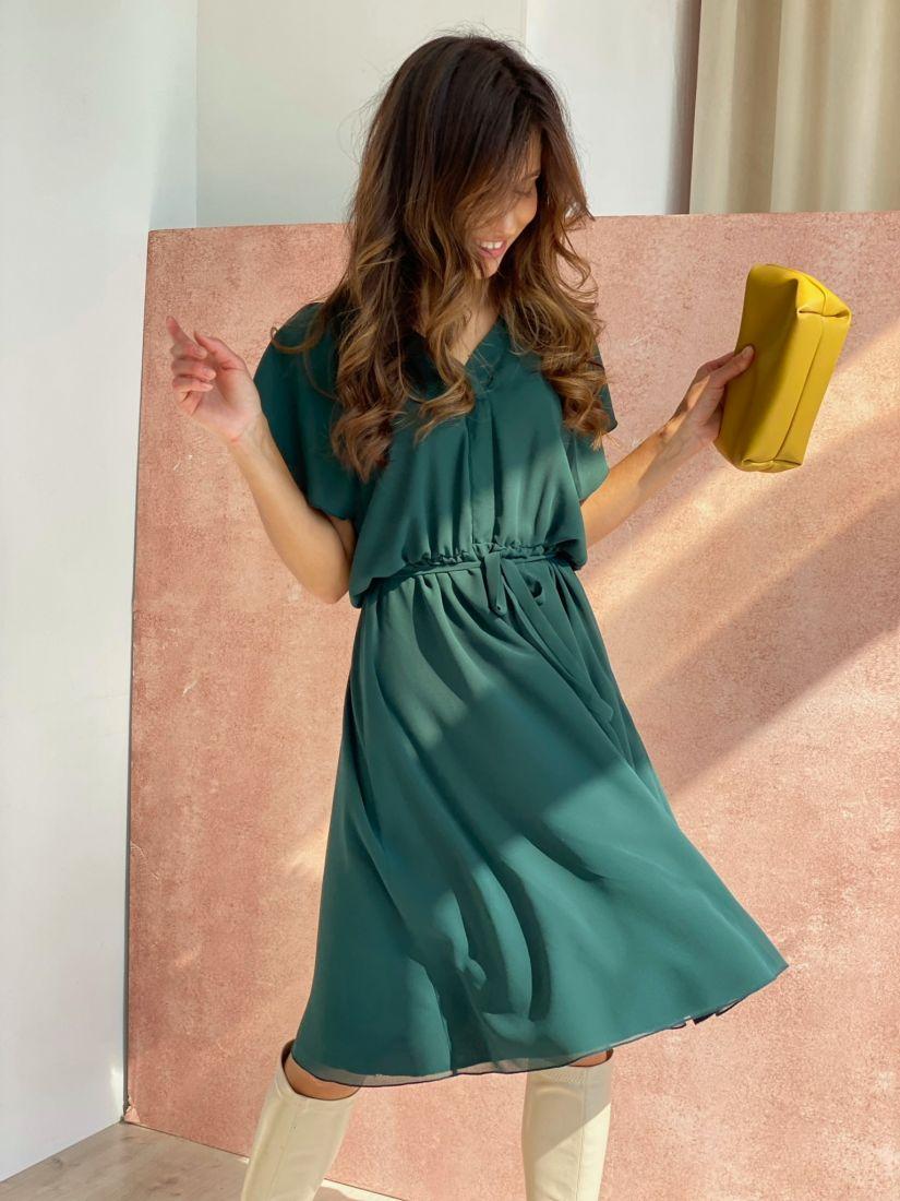4482 Платье из креп-шифона изумрудное