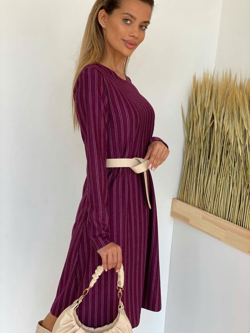 """3654 Платье-трапеция в полоску в цвете """"вино"""""""