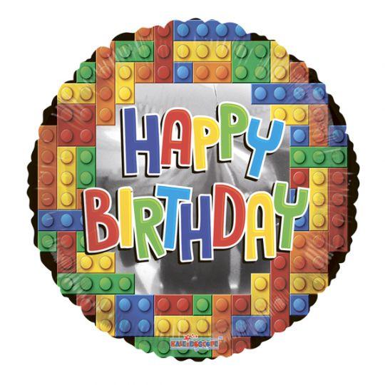 Лего С Днем Рождения фольгированный шар с гелием