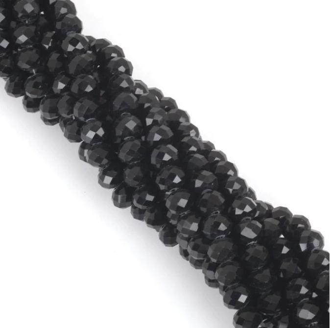 Бусины граненые Рондель (стекло) на нити цвет № 03 черный Разные размеры (LSR-03)