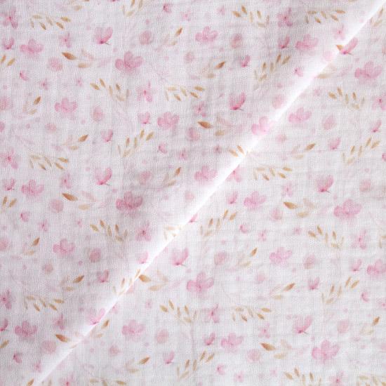 Муслин двухслойный Акварельные цветочки 50х45