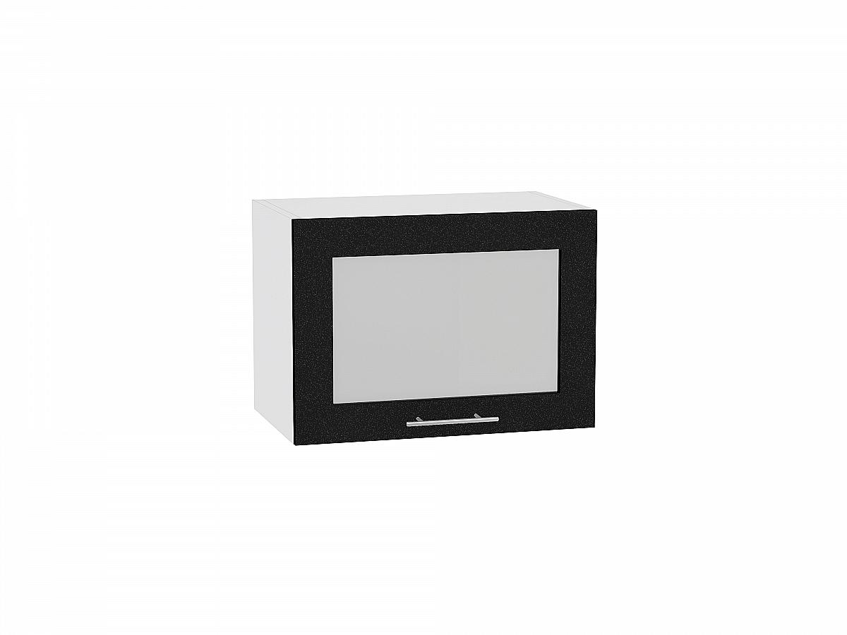 Шкаф верхний Валерия ВГ510 со стеклом (чёрный металлик)